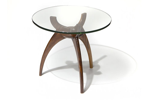 Round Glass Walnut Cocktail Side Table Base Mid Century Modern