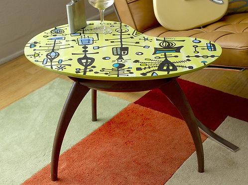Hand-Painted Tiki Kidney Table