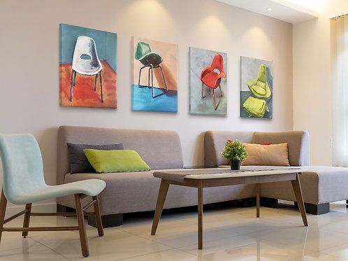 Original Mid-Century Modern Chair Paintings printed on canvas