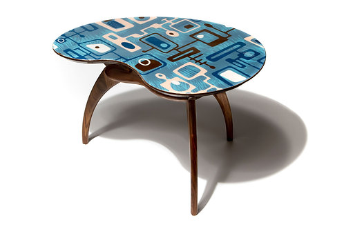 Blue Kidney Cocktail Side Accent Table