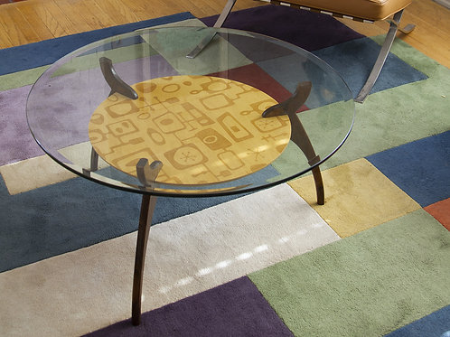 Mid Century Modern Glass Coffee Table with Googie Pattern