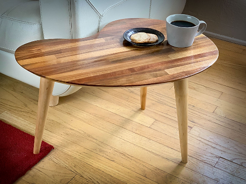 Mid Century Modern Walnut Kidney Side Table Coffee Table
