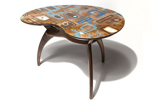 Brown Kidney Cocktail Side Accent Table