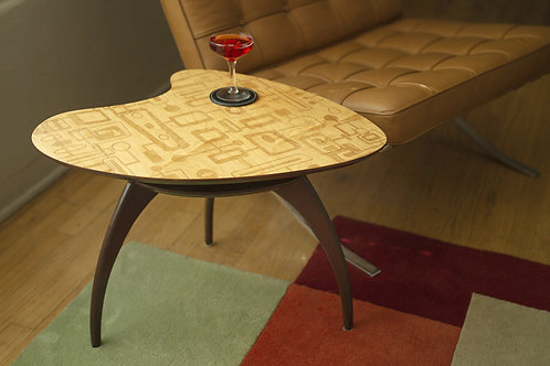 Laser-Etched Maple Boomerang Cocktail Side Accent Table