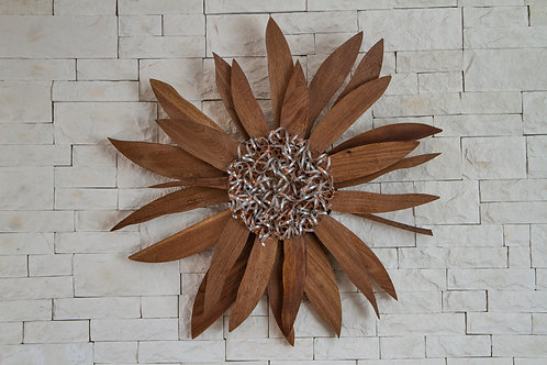 Mid-Century Wall Art - Walnut Sunflower