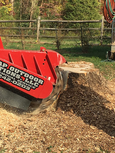 Dunlap Outdoor Solutions Grinding Machine removing a stump in Charlotte. NC