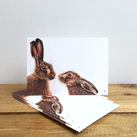 Kissing Hares Notecards