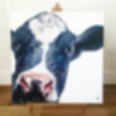 Holstein Friesian Cow Painting, black and white cow
