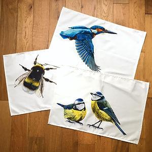 Bee, Kingfisher, Blue Tits Tea Towels