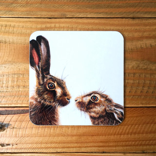 Kissing Hares Coaster
