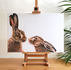 kissing hares painting | hare painting | hare print | hare picture | hares | brown hares | british countryside art | country art | wildlife art | wildlife painting | wildlife print | hare canvas | hare decor | hare gift | pair of hares | two hares | kissing hares | countryhome decor | country home design | farmhouse decor