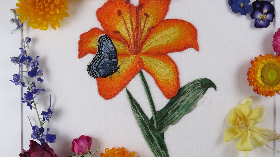 Lily and Butterfly Embroidered artwork