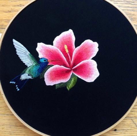 My first Silk Shading Embroidery of a Hummingbird