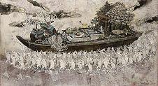 200dpi、田中望、波間の町(水舟)、2017、550x1000mm、パネル、白亜地、水干、岩絵の具、墨、箔.jpg