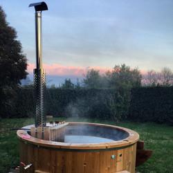 Wood fire hot tub