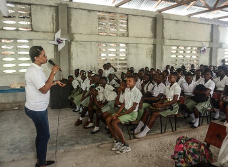 Campagne de sensibilisation à l'école  l'institution mixte moderne de la Borde aux Cayes...