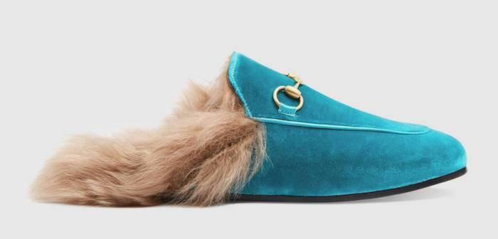 Gucci Princetown cyan velvet slippers