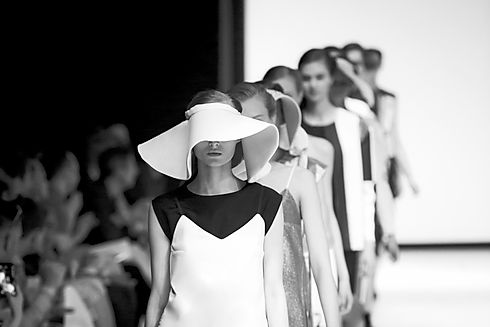 fashion show in black and white