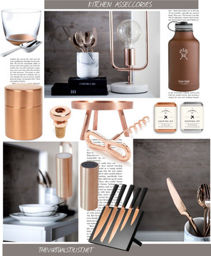 A collage with copper Kitchen Accessories