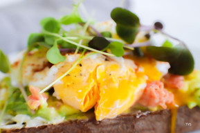 Chopped salmon and avocado egg sandwich