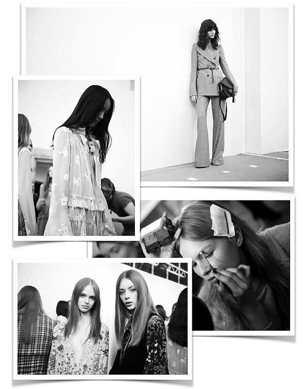 Models from Chloé Backstage almost ready for the show.