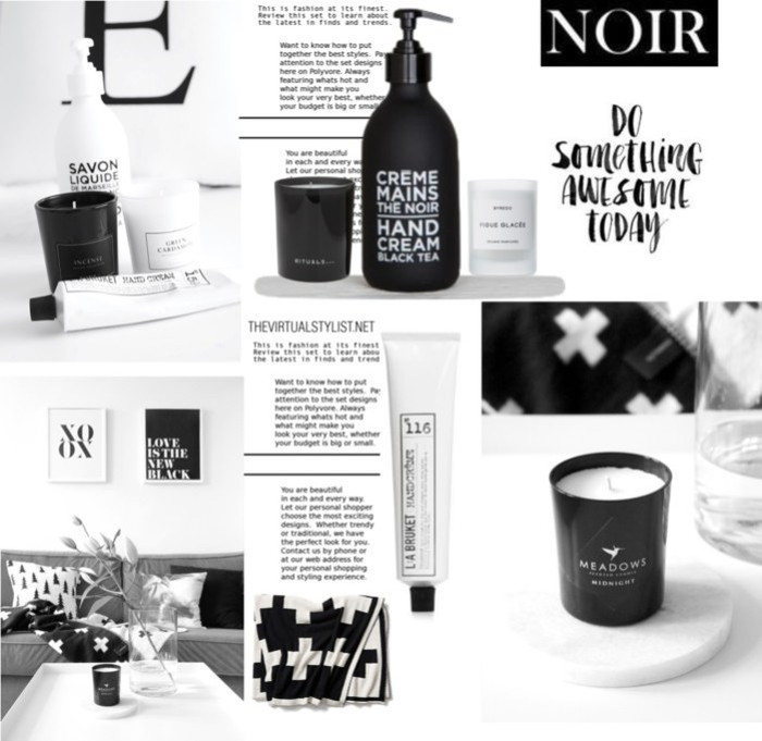 mood board with black and white items