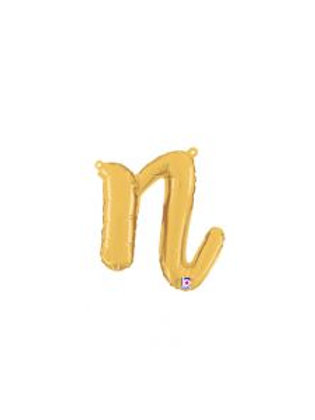 "14"" Script Letter ""n"" SILVER/GOLD"