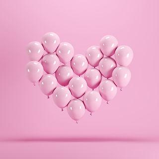 Heart shape made of Pink balloon floatin