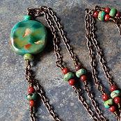 Turquoise and Kazuri Beaded Mala Necklace