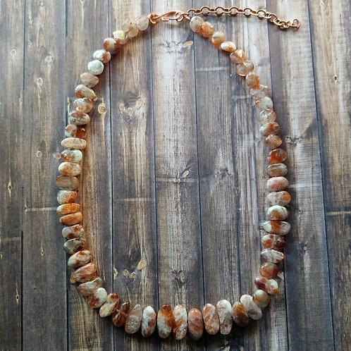Sunstone Flat Nugget Necklace