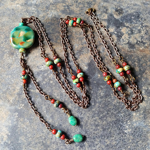 Hubei Turquoise & Red Apple Jasper Necklace