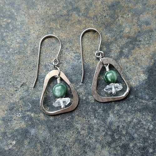 Seraphinite & Herkimer Diamond Organic Dangle Earrings