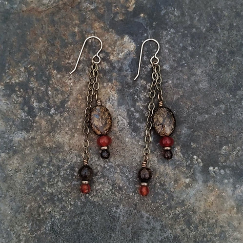 Carnelian & Bronzite Earrings