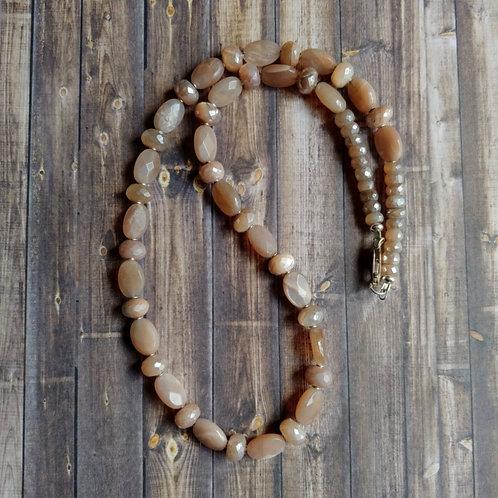 Peach & Gray Mystic Moonstone Necklace