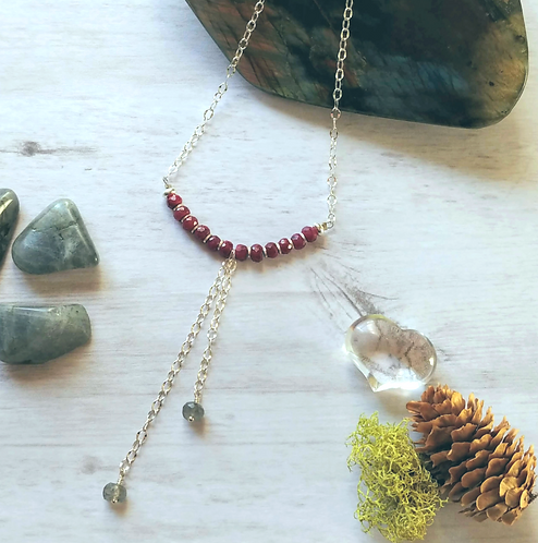Labradorite & Ruby Necklace