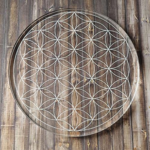 "Flower of Life Grid 8"" Clear Acrylic"
