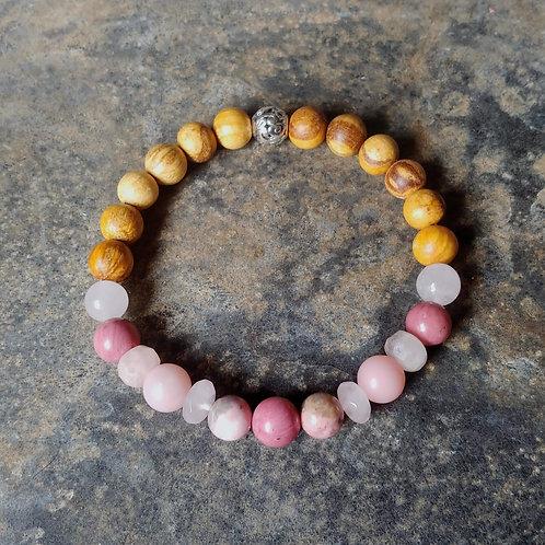Heart Chakra (Pink) Gemstone & Palo Santo Bracelet