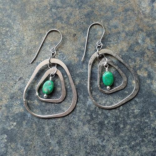 Turquoise Organic Double Dangle Earrings
