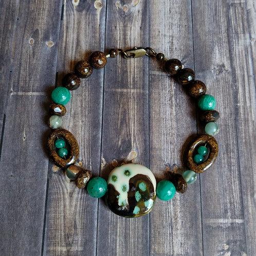 Amazonite & Kazuri Bracelet