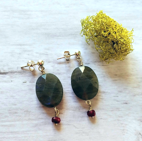 Labradorite & Ruby Earrings