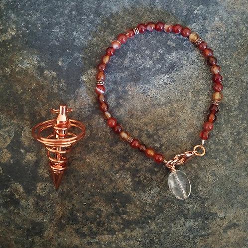 Carnelian & Copper Pendulum Bracelet