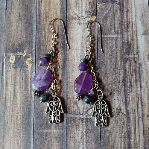 Amethyst & Larvikite Earrings