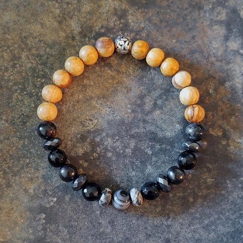 Earth Star Chakra Gemstone & Palo Santo Bracelet