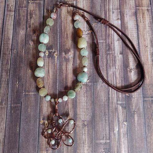 Aquamarine & Copper Flower Necklace