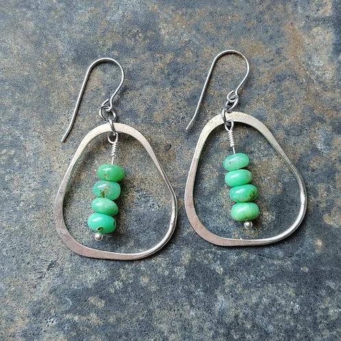 Chrysoprase Organic Dangle Earrings