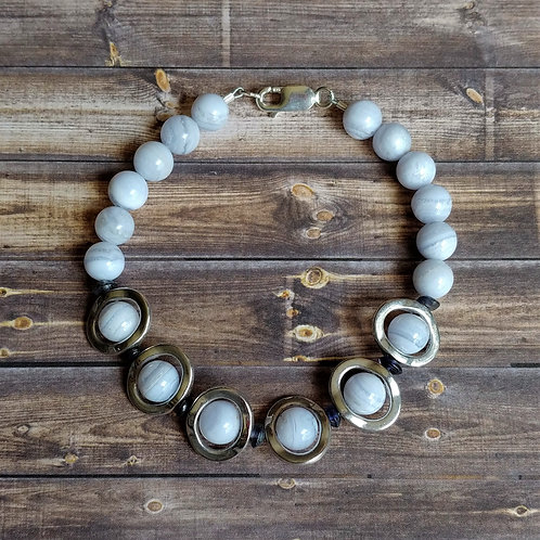 Blue Lace Agate & Iolite Bracelet