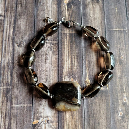 Petrified Wood & Smokey Quartz Bracelet