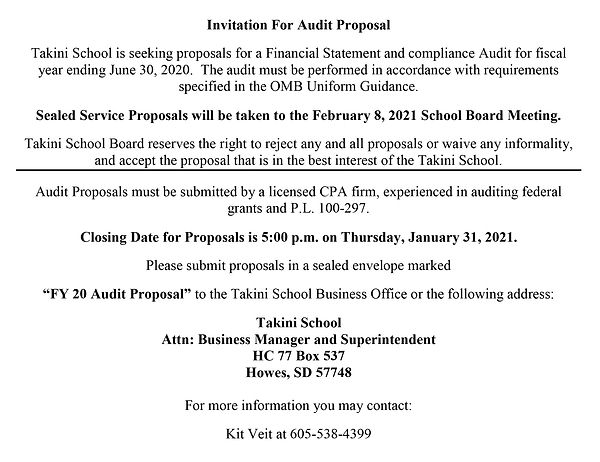 Invitation For Audit Proposal 12.23.2020