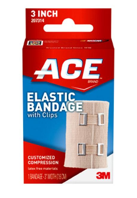 """Ace 3"""" Elastic Bandage w/Clips"""
