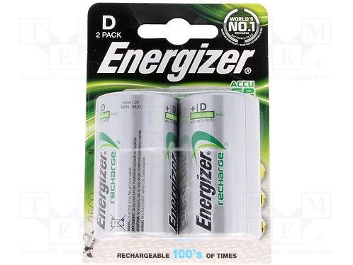 Energizer D Size Rechargeable Batteries 2pk